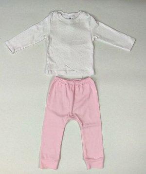 Комплект для девочки Crockid К 2583 розовые звездочки на белом + розовый