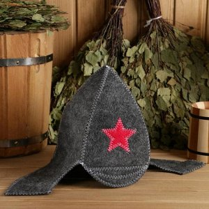 "Набор для бани ""Буденовец"" серый: шапка, коврик, рукавица"