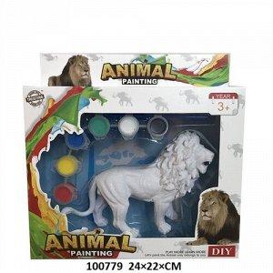 Фигурка животного для раскрашивания , краски, кисть, кор. 24*22*7 см.