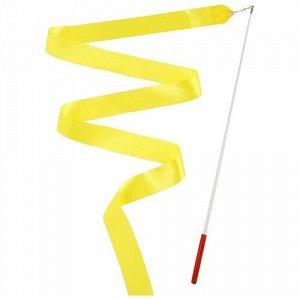 Лента гимнастическая 2 м. с палочкой , цв. желтый