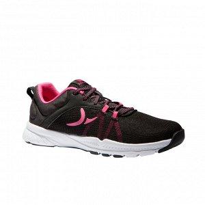 Кроссовки для фитнеса и кардиотренировок женские черно-розовые 100 W DOMYOS