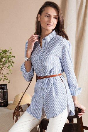 Удлиненная рубашка из хлопка в плетеную полоску, D29.652