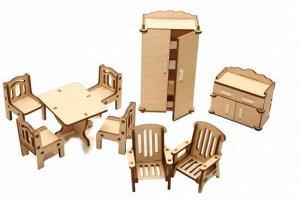Мебель (длина/ширина/высота, см).  стол: 5/6,3/4. стулья (4 шт): 3*3*45 кресла (2 шт) 3,5*4*5. шкаф: 3*6*11,5. тумба под ТВ: 3*6*5,5.