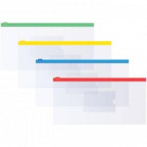 Папка-конверт на молнии OfficeSpace, 255*130мм, 120мкм, прозрачная, ассорти, для ж/д и авиа билетов