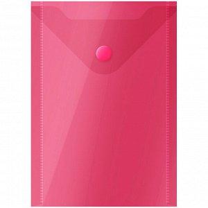 Папка-конверт на кнопке OfficeSpace, А6 (105*148мм), 150мкм, красная