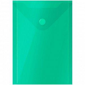 Папка-конверт на кнопке OfficeSpace, А6 (105*148мм), 150мкм, зеленая