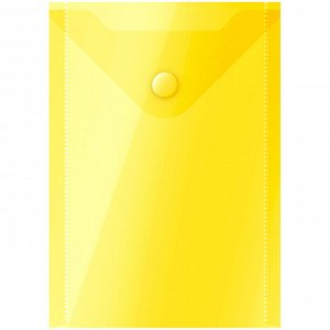 Папка-конверт на кнопке OfficeSpace, А6 (105*148мм), 150мкм, желтая