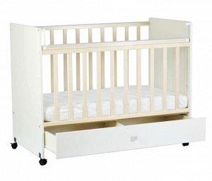 Кровать детская СКВ-4 (опуск. планка, боковины ЛДСП, ящик, колесо, накл. ПВХ, бел.+венге) 431011-8
