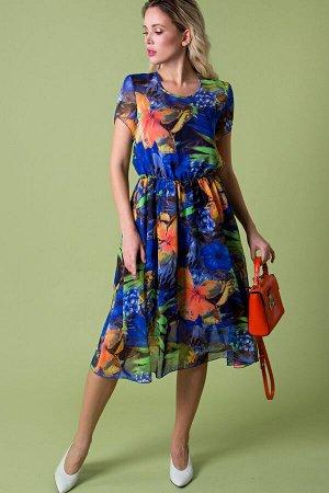 Платье Белучче из шифона c коротким рукавом (П-209-6)