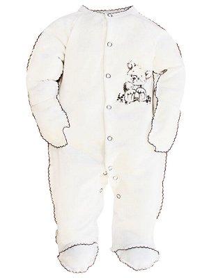 Комбинезон Количество в упаковке: 1; Артикул: МИЛ-ЯМ-01-4-78; Цвет: Белый; Ткань: Трикотаж; Состав: 100% Хлопок; Вес- от: 70 г.; Цвет: Молочный Комбинезон с закрытыми ножками, с антицарапками. Застёж