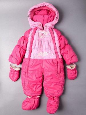 Комбинезон-трансформер для девочки зимний с варежками и сапожками, розовый