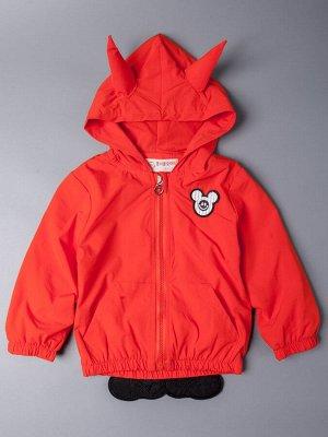 Ветровка для девочки с капюшоном на молнии, мышка, оранжевый