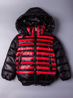 Куртка осенняя для девочки, красные полосы, черный