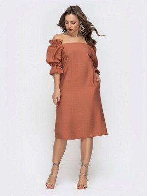 Платье Женственное платье из жатого льна с открытой линией плеч. Свободные рукава на резинке с оборками. Для комфортной посадки спинка присобрана на эластичную тесьму. В боковых швах удобные карманы.