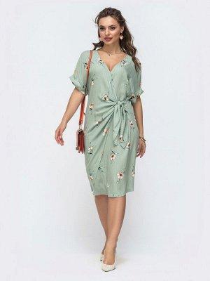 Платье Платье прямого кроя из лёгкого хлопка с цветочным рисунком. Запах на лифе фиксируется завязками. Прекрасный вариант для создания нежного и романтичного образа для встречи лета.  На модели предс
