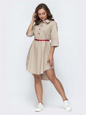 Платье Повседневное платье-рубашка с удлиненной спинкой. В боковых швах предусмотрены карманы. Застегивается на пуговицы по планке. Комплектуется контрастным поясом.  На модели представлен 44 размер: