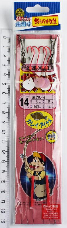 Поводок на камбалу №14 Tsuribakanisshi (5-8, 140-14см, 4 крючка красные, кембрики, блесна)