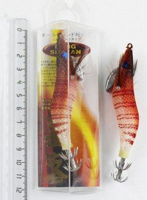 Кальмарница Lang (2.5гр, 10см, красная голова, белое брюхо, красные полосы, синий глаз)