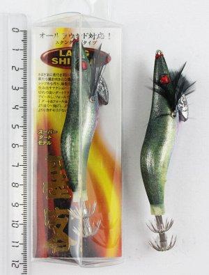 Кальмарница Lang (2.5гр, 10см, черно-зеленая спина, розово-голубое брюхо, красный глаз)
