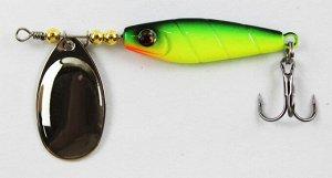 Блесна-вертушка JPF (16гр, зеленая спина, желтое пузо, оранжевая борода, серебристый лепесток, тройник)
