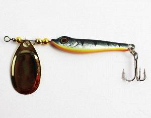 Блесна-вертушка JPF (16гр, черная спина и голова, серебристые бока, оранжевое пузо, золотой лепесток, тройник)