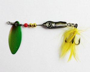 Блесна-вертушка №17 JpF (8гр, рыбка, лепесток зелено-желтый яркий, перо желтое)