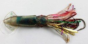 """Каракатица оснащенная  4.5"""" (кр., белая, темно-зеленый вкладыш, блестки, мишура, два крючка №17 и №18 с вертлюгом)"""