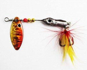 Блесна-вертушка №4 JpF (8гр, рыбка, лепесток красно-желтый голография, перо красно-желтое)