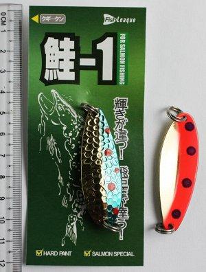 Блесна-колебалка Fish Leaque (10гр, золото-оранжевая, черные глазки.,золото-голубая, красные глазки)