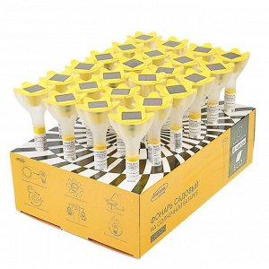 """Фонарь садовый на солнечной батарее """"Цветок желтый"""", 32 см, d=6 см, 1 led, пластик"""