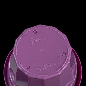Горшок для цветов с поддоном Доляна «Эрика». 0.7 л. цвет фиолетовый