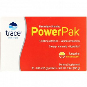 Trace Minerals Research, Electrolyte Stamina PowerPak, Tangerine, 30 Packets, 0.18 oz (5 g) Each