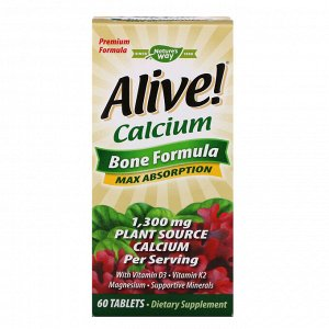 Nature&#x27 - s Way, Alive!, кальций, формула для костей, 1300 мг, 60 таблеток