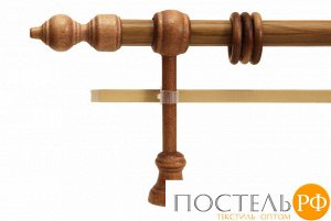 Филиграно - металлодеревянные карнизы Ø28мм Двухрядный карниз (кольца с крючками)., 2,4м, Цвет: дуб