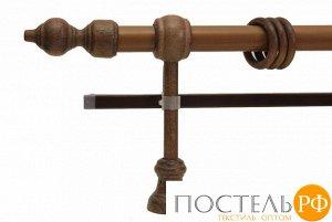 Филиграно - металлопластиковые карнизы Ø28мм Двухрядный карниз (кольца с зажимами)., 1,6м, Цвет: дуб рустик
