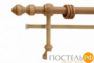 Филиграно - металлодеревянные карнизы Ø28мм Двухрядный карниз (кольца с зажимами)., 1,6м, Цвет: бук