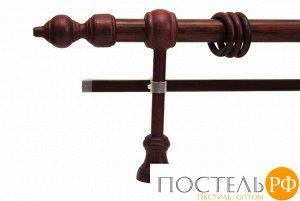 Филиграно - металлодеревянные карнизы Ø28мм Двухрядный карниз (кольца с зажимами)., 1,8м, Цвет: красное дерево