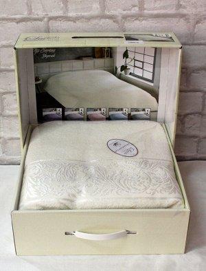 Покрывало 200*220 хлопок (подарочная коробка) YAPRAK кремовый