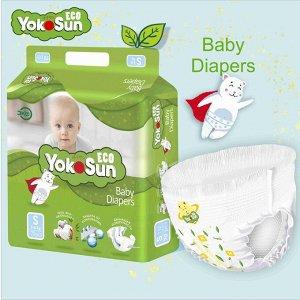 Одноразовые детские подгузники на липучкахYokoSun Eco S (3- 6 кг) 70 шт. размер