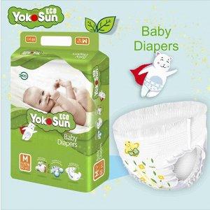 Одноразовые детские подгузники на липучках YokoSun Eco размер М (5-10 кг), 60 шт.