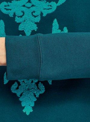 Свитшот с вышивкой из ткани букле Бирюзовый