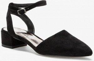 907007/01-05 черный иск.замша женские туфли открытые