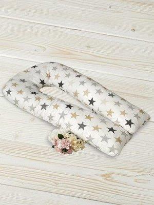 """Подушка для беременных """"AmaroBaby"""" U-образная,340*35 см. (файбер, бязь) звезды пэчворк"""