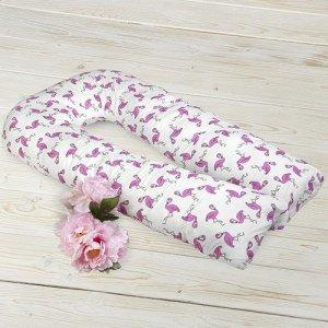 """Подушка для беременных """"AmaroBaby"""" U-образная,340*35 см. (файбер, бязь) Фламинго"""
