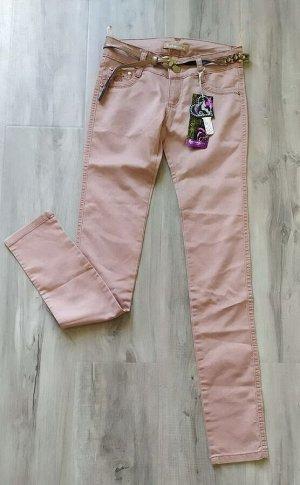 Летние тонкие джинсы с ремешком, цвет розовое какао