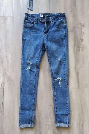 Женские УТЕПЛЕННЫЕ джинсы зауженного фасона, цвет темно-голубой