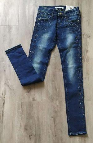 КРУТАЯ МОДЕЛЬ! Зауженные джинсы-стрейч со стразами. Цвет темно-синий