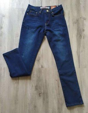 Женские УТЕПЛЕННЫЕ джинсы зауженного фасона, цвет темно-синий