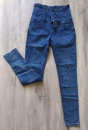 Женские джинсы С ВЫСОКОЙ ТАЛИЕЙ, плотный стрейч, цвет голубой.