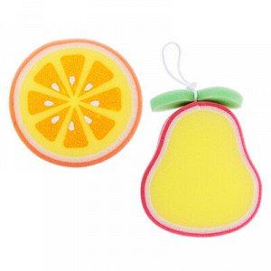 С Мочалка детская в виде апельсина 12х3см/груши 14х12х3см, 2 дизайна